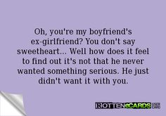 what to say to my boyfriend ex girlfriend - Google Search