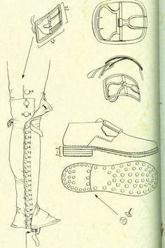 Hobnail shoes and long gaiters - the gaiters were replaced by below the knee by Waterloo