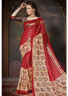 #Carnelian Red and #Cream Yellow #Bhagalpuri Silk Printed Casual Saree Sku Code: 19-5837SA541324 US $31.00 http://www.sareez.com/catalog/product/view/id/69185/s/carnelian-red-and-cream-yellow-bhagalpuri-silk-printed-casual-saree/category/90/