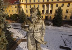 WUENSDORF, GERMANY - JANUARY 26:  In this aerial view a statue of Vladimir Lenin stands overlooking a vista in front of the officers' building at the former Soviet military base on January 26, 2017 in Wuensdorf, Germany. Wuensdorf, once called 'The Forbidden City,' was the biggest base for the Soviet armed forces in communist East Germany from 1945 until the last Soviet troops left in the early 1990s following the end of the Cold War and the reunification of Germany. While Soviet troops…