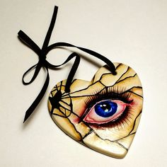 Broken Doll Heart Mini Plaque - acrylic and paper clay on ceramic plaque