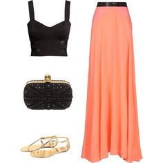 Crop top and maxi skirt with a cute purse and some sandals