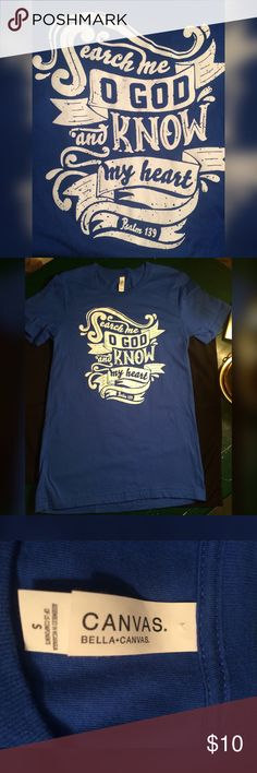 """Canvas T-shirt - S Psalm 139 on Blue Canvas t-shirt. Size S, 28"""" long. Canvas Tops Tees - Short Sleeve"""