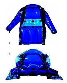Continuing the C.P. Company Inflatables line for 2001, Moreno Ferrari developed a waterproof barrier shell hooded jacket, which could be inflated to an armchair.