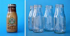 Glass Milk Bottle Tutorial - 505 Design, Inc Flower Vases, Diy Flower, Flowers, Frappuccino Bottles, Glass Milk Bottles, Water Bottle, Diy Projects, Cuttings, Canning