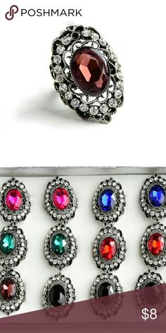 ADJUSTABLE COCKTAIL RINGS I have these in many colors. All are silver-tone and fully adjustable. Perfect addition to a great manicure!  Message first to see if the color you want is available.   Bundle and save 10%!!! *Will come NWT in small bag since they are taken from the display shown. Jewelry Rings