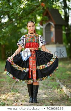 """Stock fotografie """"Slovakian Folklore Traditional Costume"""" (k okamžité úpravě) 703938166 Country Costumes, Country Outfits, Authentic Costumes, Costumes Around The World, Red Boots, Folk Costume, World Cultures, Tumblr Girls, Traditional Dresses"""