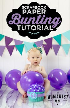 DIY Scrapbook Paper Bunting Tutorial for photography & party decor. Paper flags.