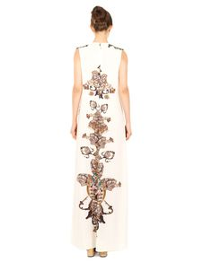 ANTONIO MARRAS LONG EMBROIDERED DRESS S/S 2016 Long embroidered dress V-neck sleeveless front darts fully embroidered with sequins back concealed zipper closure 98% PL 2% EA