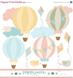 Summer Sale Hot air balloon and kite pastel pink yellow, blue and green clipart