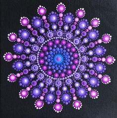 Vibrant purple snowflake mandala on black 6 x 6 image 1 Dot Art Painting, Rock Painting Designs, Mandala Painting, Painting Patterns, Stone Painting, Mandala Painted Rocks, Mandala Rocks, Mandala Pattern, Mandala Design