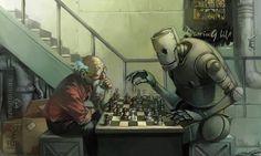 play chess with robot by cuson.deviantart.com on @DeviantArt