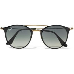 Ray-Ban Round-frame acetate and gold-tone sunglasses ($175) ❤ liked on Polyvore featuring accessories, eyewear, sunglasses, glasses, black, round sunglasses, retro style sunglasses, retro round sunglasses, retro sunglasses and round frame sunglasses