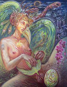To Build a Nest' by Amanda Sage Tantra Art, Environment Painting, Stoner Art, Exotic Art, Spirited Art, Visionary Art, Art And Illustration, Psychedelic Art, Fantasy Art