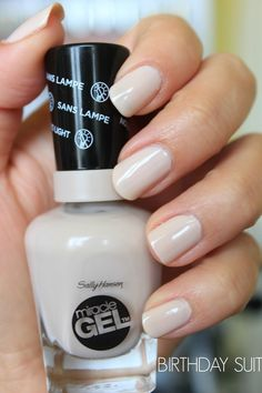 Sally Hansen Miracle Gel Nail Polish 'Birthday Suit' Trying this for the time. It applies smoothly & easily. It's still hard to find in Northern Kentucky. Love Nails, How To Do Nails, Pretty Nails, Gel Nail Colors, Gel Color, Gel Nail Polish, Gel Nails, Nail Polishes, Sally Hansen Nails