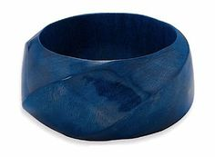 1-3/8 inch wide Blue Wood Fashion Bangle Bracelet, for 7 to 7-1/2 inch Wrists Silver Messages. $21.99. Save 24%!