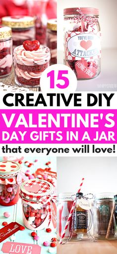 Valentinstag Einmachglas Geschenke – 14 Valentinstag Geschenke in einem Glas Jed… Valentine's Day Mason Jar Gifts – 14 Valentine's Day Gifts in a Jar Everyone will love Valentine's Day Gifts in a jar that are fun and easy for your friends, family and Surprise Gifts For Him, Bday Gifts For Him, Diy Gifts For Boyfriend Just Because, Boyfriend Gifts, Mason Jar Candy, Mason Jar Gifts, Mason Jars, Valentines Day Gifts For Friends, Valentines Diy