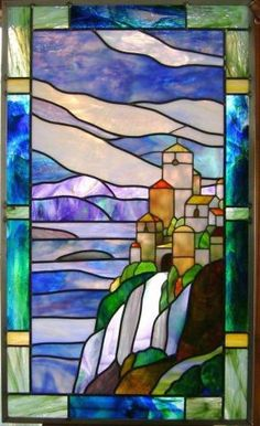 """- Fox""""s Gallery - Gallery - Stained Glass Town Square Stained Glass Designs, Stained Glass Panels, Stained Glass Projects, Stained Glass Patterns, Stained Glass Art, Sea Glass Mosaic, Sea Glass Art, Mosaic Art, Gallery Gallery"""