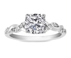 Cushion Diamond Petite twisted pave band Engagement Ring in 14K White Gold