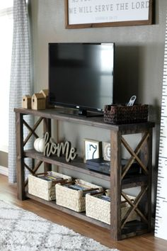 Farmhouse style DIY console table plans simple design easy to replicate Detailed instructions and only 50 worth of supplies Would you make your own Farmhouse Tv Stand, Small Farmhouse Table, Diy Tv Stand, Tv Stand Decor, How To Build Tv Stand, Tv Stand Toy Storage, How To Decorate Tv Stand, Tv Table Stand, Simple Tv Stand