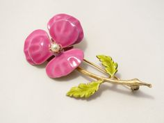 Pink Enamel Floral Brooch  Accessocraft NYC by EratiqueJewels, $12.00
