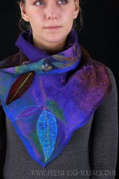 Nuno felted scarves - Felted Scarf - Felt Cowl - Nuno Felt Versatile Cowl - Crow Skull