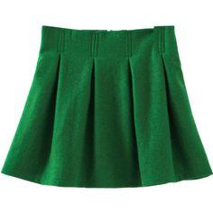 Blackfive Solid Tone Natural Waist Pleated Woolen Skirt ($25) ❤ liked on Polyvore featuring skirts, bottoms, faldas, green a line skirt, wool a line skirt, zipper skirt, zip skirt and wool skirt