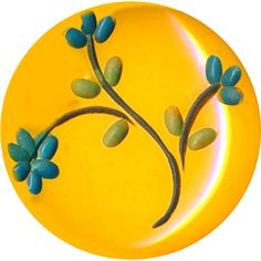 Button ~ Large Vintage Opaque Yellow Bakelite with Incised Painted Sprig