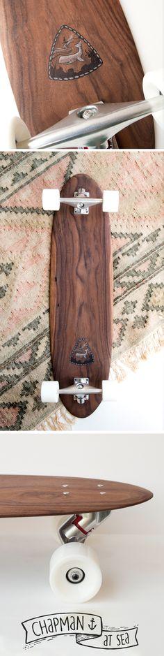 Handmade walnut skateboard longboard  by Chapman at Sea