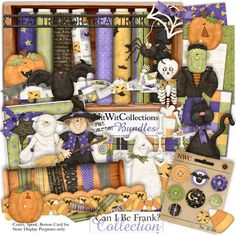 Digital scrapbooking halloween and card making halloween kit FQB - Can I Be Frank? Collection