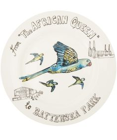Katie Spragg White London Parakeets Bone China Dinner Plate | Home | Liberty.co.uk