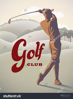 Golf player is doing a swing on the field. Retro styled vector illustration.