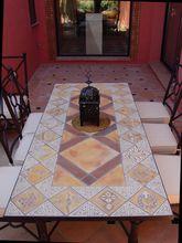 Outdoor dining table - mosaic table - kalahari tile design - rectangular terrace table