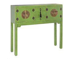 Consola de madera con 4 puertas y 3 cajones - verde