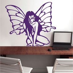 The Fairy Wall Art Decal Sticker from Trendy Wall Designs is fun for the whole family! Created with removable vinyl, what a beautiful decal to position any way you wish. Vinyl Wall Decals, Wall Stickers, Wall Murals, Wall Art Decor, Cartoon Wall, Wall Drawing, Modern Wall Art, Vinyl Designs, Cool Walls