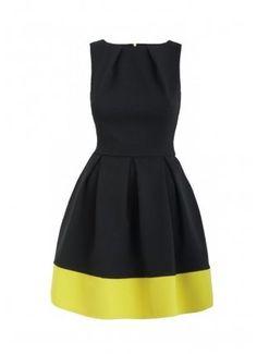 Closet London Black Lime Panel Skater Dress