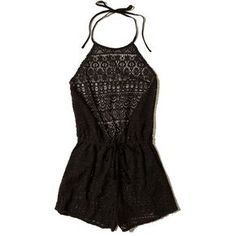 Hollister Lace Romper Swim Cover-Up (46 AUD) ❤ liked on Polyvore featuring swimwear, cover-ups, black lace, halter swimwear, hollister co. swimwear, halter neck swimwear, swim cover up and lace cover up