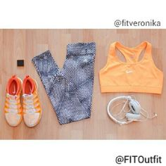 Today's #FITOutfit is by @fitveronika  @nikewomen dri-fit sports bra  @adidaswomen training midrise grid print tights @nikerunning flyknit lunar 2 shoes  @sony headphones