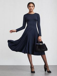 The Tammy Dress engineered for twirling. This is a super soft stretch jersey Elegant Dresses, Formal Dresses, Wedding Dresses, Knit Dress, Dress Up, Autumn Winter Fashion, Fall Fashion, Fall Winter, Beautiful Gowns