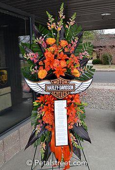 Harley Davidson funeral spray of flowers.
