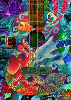 """Ocean Dream Guitar"" by Julie Oakes, Melbourne, FL // A musical ocean dream with vibrant sea creatures swimming in an acoustic guitar - featuring a dolphin, octopus, sea-turtle and a clown fish in a colorful tropical piece.  Third drawing in a series of three. // Imagekind.com -- Buy stunning, museum-quality fine art prints, framed prints, and canvas prints directly from independent working artists and photographers."