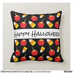 Halloween Candy Corn Candy Apples Throw Pillow Halloween Pillows, Halloween Home Decor, Halloween House, Halloween Candy, Halloween Gifts, Happy Halloween, Halloween Decorations, Personalized Candy, Personalized Note Cards