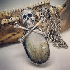 Soldered Fairy Moss Agate with Skull & Crossbones on Chain Moss Agate, Skull And Crossbones, Stone Jewelry, Skulls, Stones, Fairy, Chain, Boots, Crotch Boots