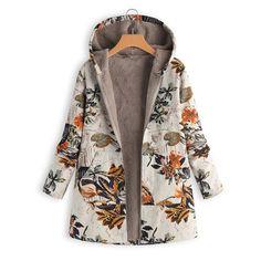 89e4d72d8ec Coats and jackets women winter warm outwear fashion floral print hooded  pockets vintage oversize coats 2018
