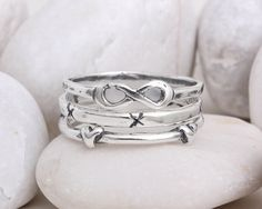 Infinity Heart Cross Ring with Stackable Sterling Silver