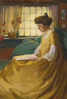 ✉ Biblio Beauties ✉ paintings of women reading letters & books - Mabel May Woodward | Afternoon Respite