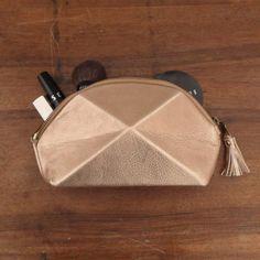 Pyramide cosmetic bag soft gold by larakazis on Etsy, $85.00