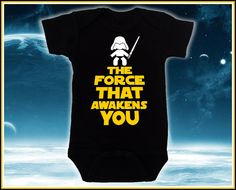 Get It Now The Force that Awakens You Black Baby Suit cute funny star wars baby clothes for baby girl or boy, Best unique baby gift for baby shower by AwesomeBabyWear. Star Wars Baby Clothes, Funny Baby Clothes, Funny Babies, Baby Items Must Have, Star Wars Onesie, Baby Friends, Baby Suit, Unique Baby Gifts, Onesies