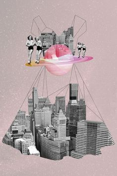 her series of striking collages, Istanbul-based illustrator Ceren Kilic uses mixed media to create other-worldly dreamscapes. Utilising a pastel colour palette, the images convey a sense of adventure. Collage Design, Design Art, Collage Ideas, City Collage, Collage Collage, Image Collage, Mixed Media Photography, Art Photography, Photomontage