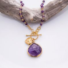 Lariat Necklace  Purple Amethyst Necklace  Wire by delezhen